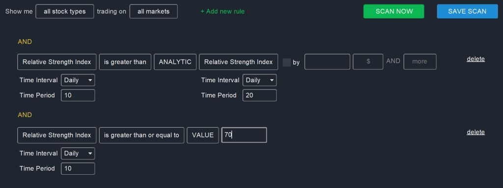 RSI Screener – Comparing RSIs Scan