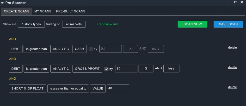 Fundamental Screen – Debt Scan