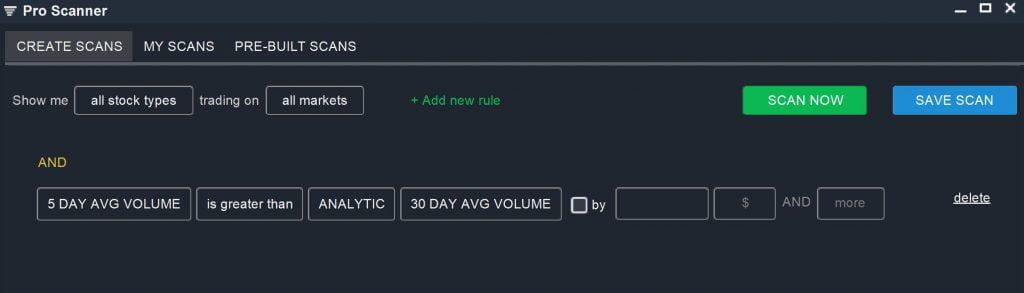 Relative Volume - Pro Scanner