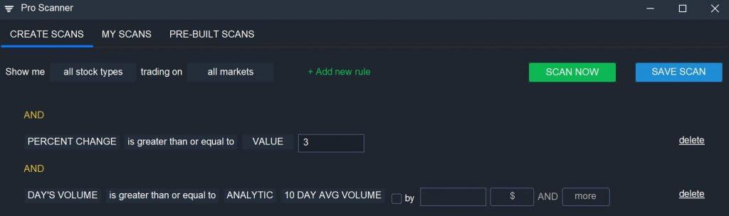 Scanz Volatile Stocks - Pro Scanner Settings